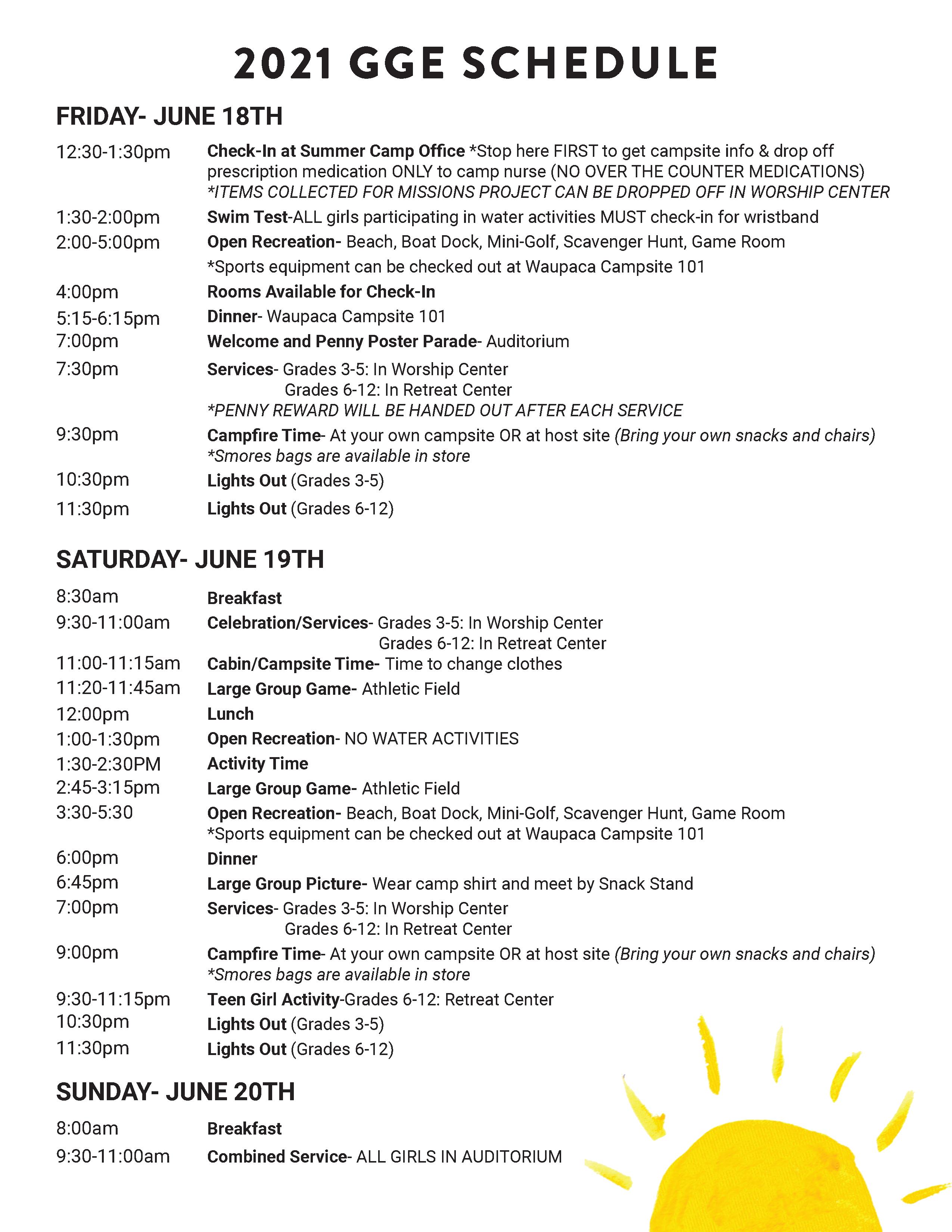 GGE Schedule 2021